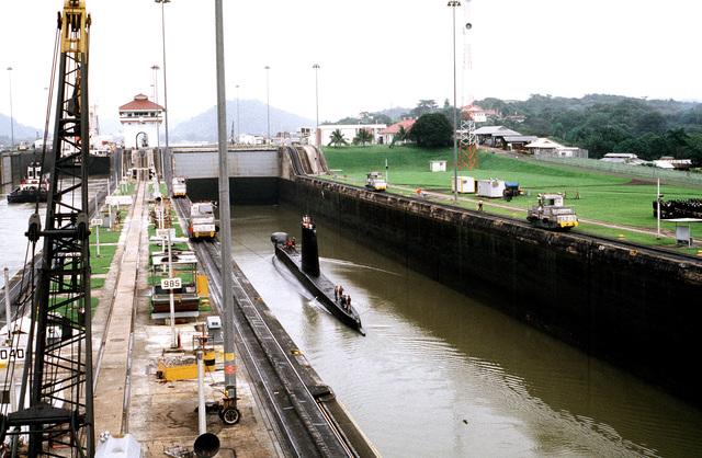 The British patrol submarine HMS OCELOT (S-17) passes through the Miraflores Locks during its transit of the Panama Canal