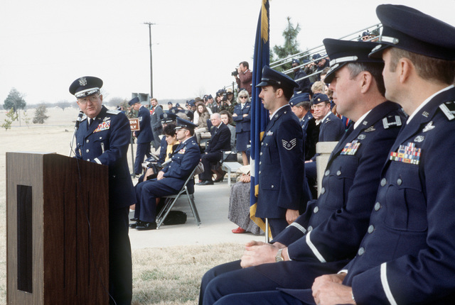 LGEN Richard A. Burpee, left, Commander, 15th Air Force, addresses some remarks to COL Albert D. Jensen, right, and COL William J. Ehrie, second from right, during the 96th Bombardment Wing (96th BMW) change of command ceremony. Ehrie is relieving Jensen as commander of the 96th BMW