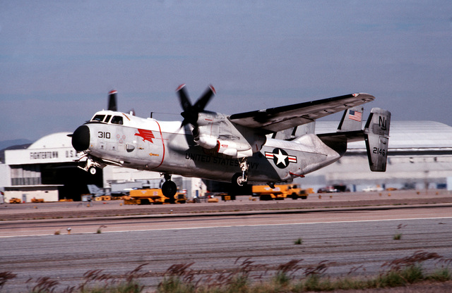 A C-2A Greyhound aircraft of Airborne Early Warning Squadron 110 (VAW-110) prepares to land