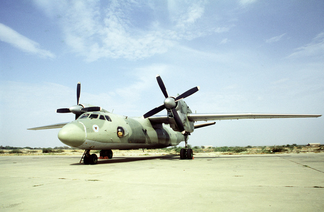 A Peruvian AN-32 Cline aircraft stands on the flight line during a joint exercise involving Air Force units from the United States and Peru