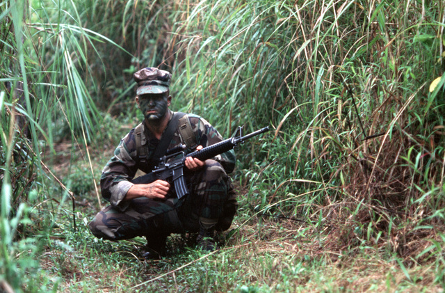 A member of 3rd Squadron, 2nd Platoon, Company K, 3rd Battalion, 6th Marines, crouches along a path during a halt in a patrol west of Howard Air Force Base. He is armed with an M16A2 rifle
