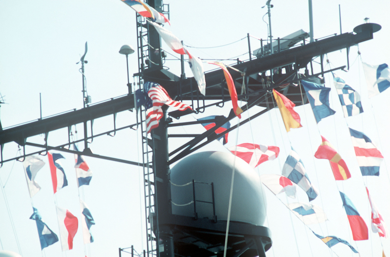 Pennants bedeck the superstructure of the guided missile cruiser USS CHANCELLORSVILLE (CG 62) during the vessel's commissioning ceremony