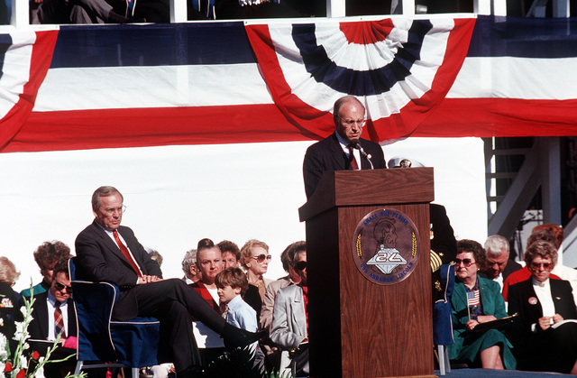 Dick Cheney, secretary of defense, speaks during the commissioning ceremony of the nuclear-powered aircraft carrier USS ABRAHAM LINCOLN (CVN-72)
