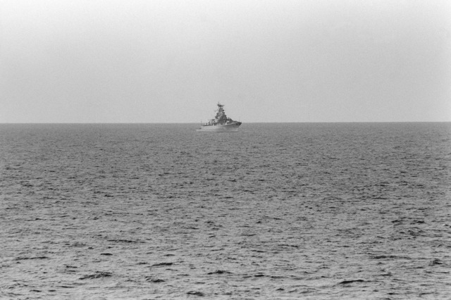 A starboard bow view of the Soviet Krivak II class guided missile frigate RAZITELNY participating in radio interoperability tests between US and Soviet naval forces. The communications exercise is being conducted under guidelines in the Dangerous Military Activities Agreement. (SUBSTANDARD)