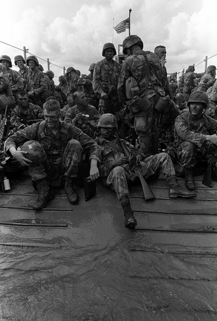 Soldiers of the 82nd Airborne Division cross Gatun Lake aboard an Army LCM-8 mechanized landing craft during Operation Strike Hold, an Army contingency exercise