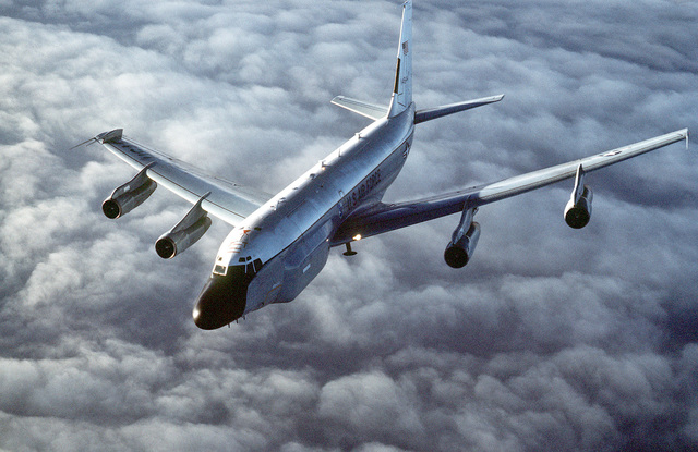 A front left view of an RC-135 Stratoliner aircraft of the 306th Strategic Wing in-flight