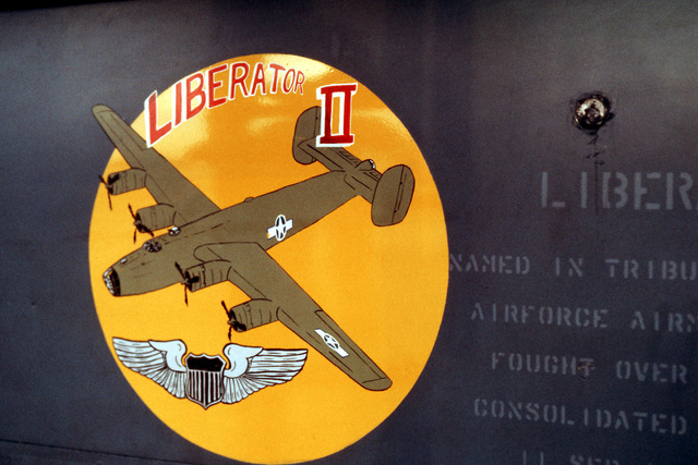 "A close-up view of the artwork on the nose gear door of a 509th Bombardment Wing FB-111A aircraft known as ""Liberator II"""