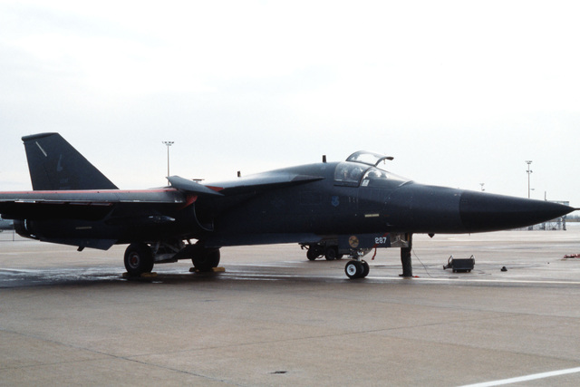 "A right front view of a 509th Bombardment Wing FB-111A aircraft known as ""Liberator II"""