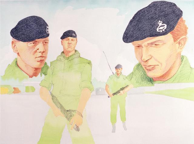 "Artwork: ""AP1C Guard"" Germany, 1987. Artist: Gregg Davis. Catalog Number: 1.9.88"