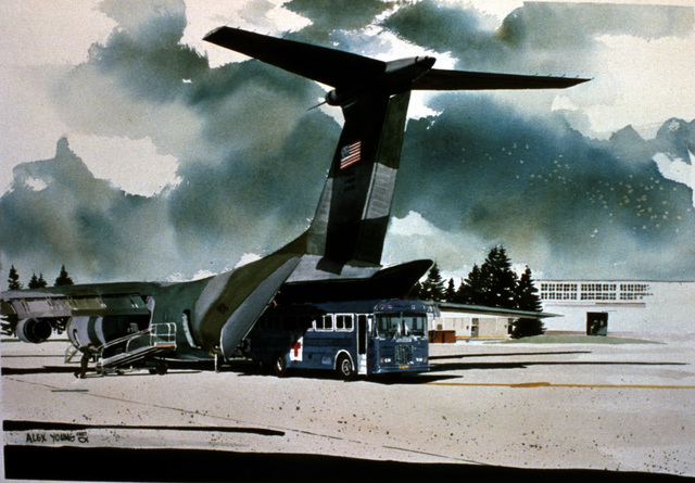 "Artwork: ""Patient Transfer"". Artist: Alex Young. U.S. Air Force Art Collection"