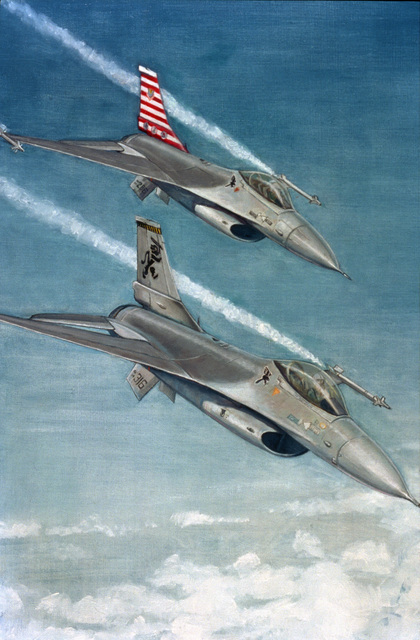 "Artwork: ""Ramstein's F-16s"". Artist: Nancy Sparks. U.S. Air Force Art Collection"