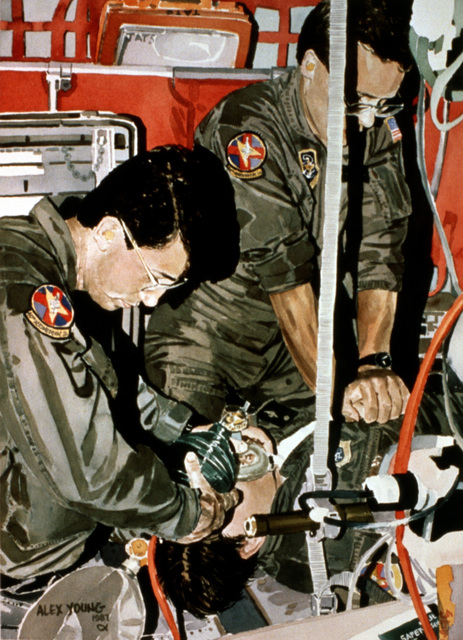 "Artwork: ""To Save a Life"". Artist: Alex Young. U.S. Air Force Art Collection"
