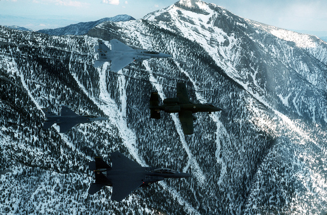 Four aircraft from the Tactical Fighter Weapons Center, Nellis Air Force Base, Nev., fly in formation near Hoover Dam. The aircraft are, clockwise from top: an F-15C Eagle, An A-10A Thunderbolt, an F-15E Eagle and an F-16A Fighting Falcon