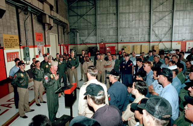 Members of Strike Fighter Squadron 147 (VFA-147) are briefed on the capabilities of the F/A-18C(N) Hornet aircraft. The squadron is making the transition from A-7E Corsair II aircraft to the more technologicaly advanced Hornet and recently received its first Hornet from McDonnell-Douglas corporate facilities in St. Louis.