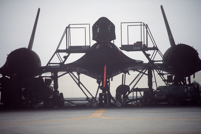 Silhouette of a 9th Strategic Reconnaissance Wing's SR-71 Blackbird reconnaissance aircraft and maintenance stands in its hangar at Beale Air Force Base, California.Exact Date Shot Unknown