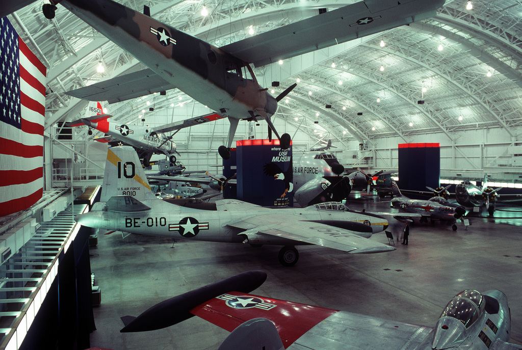 Various aircraft encircle a suspended B-45C Tornado aircraft in the Air Force Museum, the world's largest repository of aviation memorabilia