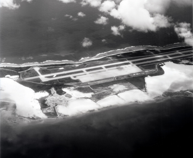 An aerial view of the runway located at Diego Garcia, British Indian Ocean Territory (BIOT)