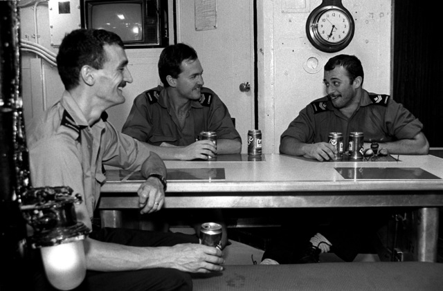 Off-duty sailors relax in the enlisted men's mess aboard the Canadian frigate HMCS MARGAREE (DDH 230) during FLEET EX 1-90