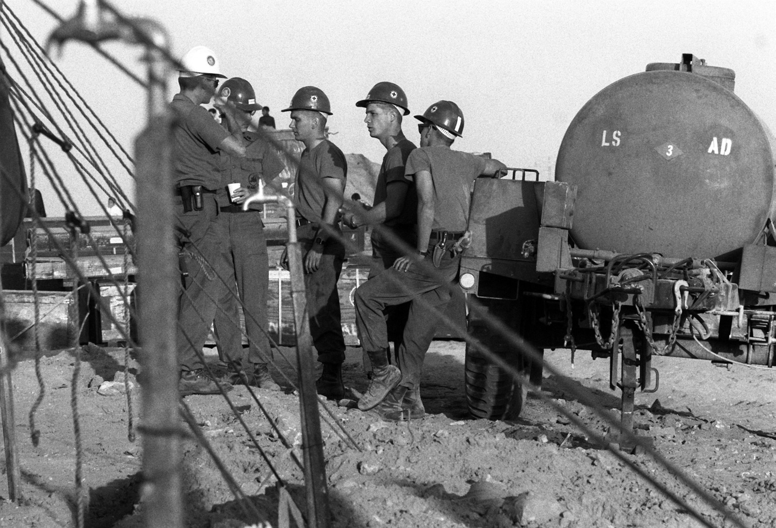 US Navy Seabees discuss their assignment during exercise
