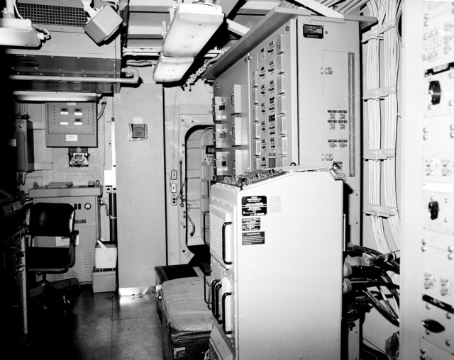 A view of interior communications and gyro room No. 1 aboard the guided missile cruiser COWPENS (CG-63). The COWPENS is 90 percent complete
