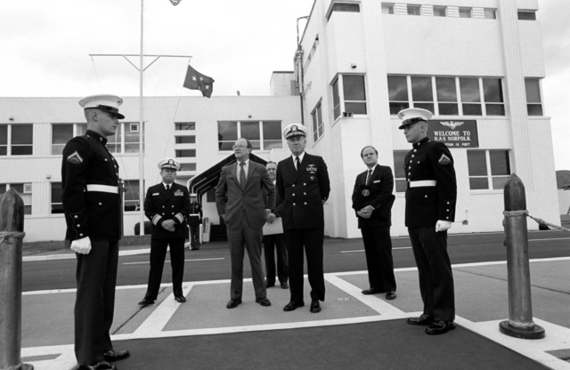 Admiral Frank B. Kelso II, Commander in CHIEF, United States Atlantic Command/Supreme Allied Commander, Atlantic, waits for the arrival of visiting Soviet parliamentary members