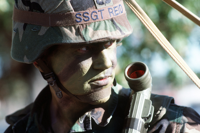 STAFF SGT. Johnny Reid, Detachment 3, 5th Weather Squadron, takes part in a field exercise. The Air Force detachment provides airborne weather teams to support the Army's XVIII Airborne Corps and subordinate units, including the 82nd Airborne Division, 1ST Special Operations Command and the 7th Special Forces Group