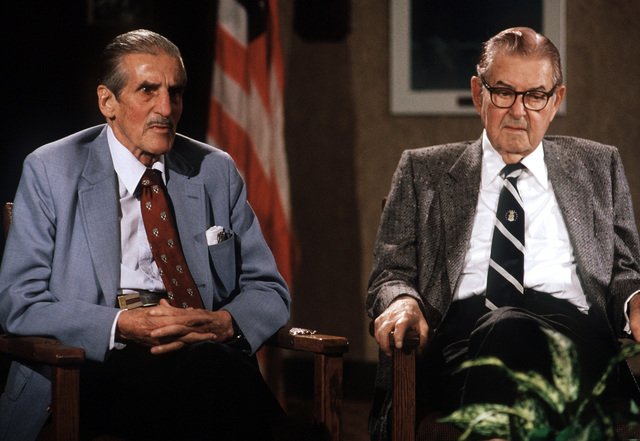 Loyd Nolan, left, speaks during an interview taped for the National Air and Space Museum. Nolan founded the Confederate Air Force, a private historical organization that restores and preserves World War II-era aircraft. AT right is retired GEN Curtis E. LeMay, who headed the Strategic Air Command from 1948 to 1957 and was Air Force CHIEF of STAFF from 1961 to 1965