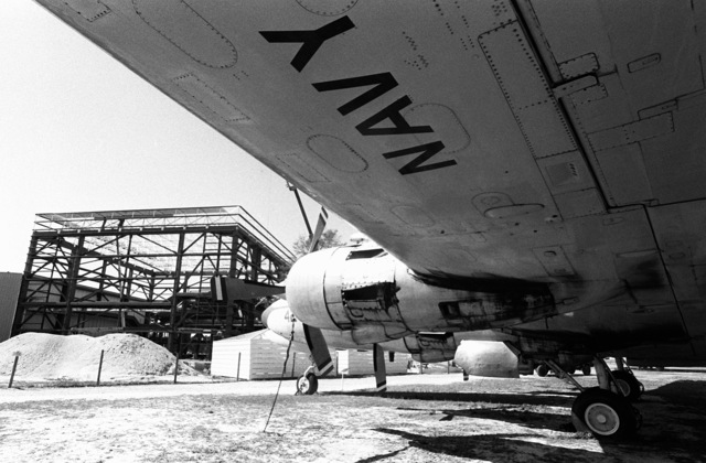 A view of the third phase of construction at the US Naval Aviation Museum, as seen from beneath the wing of an R5D Skymaster aircraft