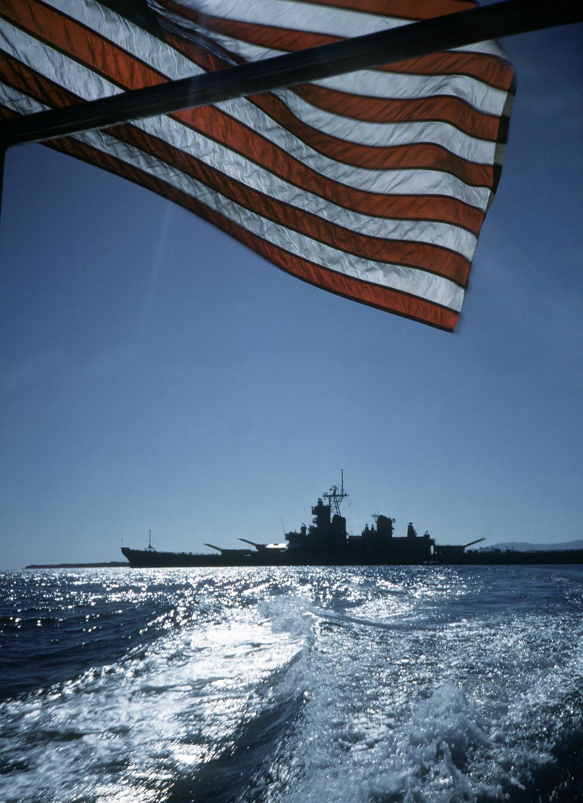 As seen from a departing liberty boat, the battleship USS WISCONSIN (BB-64) lies at anchor near U.S. Naval Station, Guantanamo Bay, Cuba