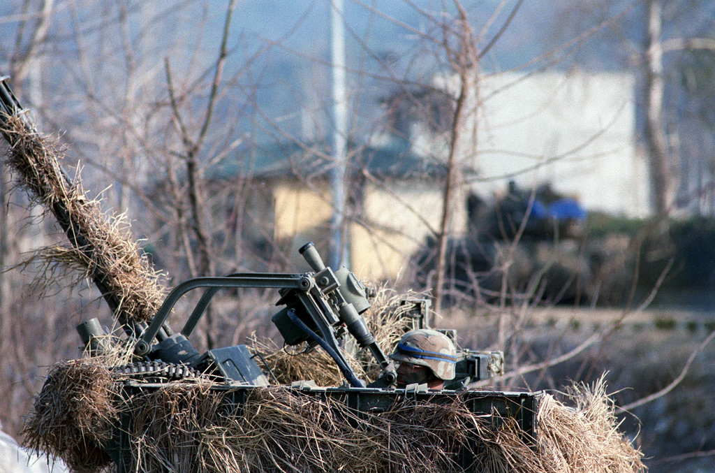 SGT William Johnson of Btry. B, 1ST Bn., 62nd Air Defense Arty., 25th Inf. Div. (Light), mans an M-167 Vulcan air defense system deployed along Highway 520 in the Changhowon area during the combined South Korean/U.S. exercise Team Spirit '90