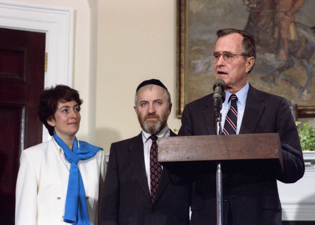 President Bush Participates in a Ceremonial Signing of a Passover Message