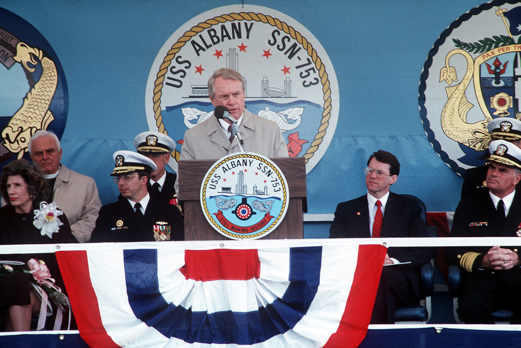 Edward J. Campbell, President and CHIEF Executive Officer of Newport News Shipbuilding, speaks during the nuclear-powered attack submarine USS ALBANY (SSN 753)
