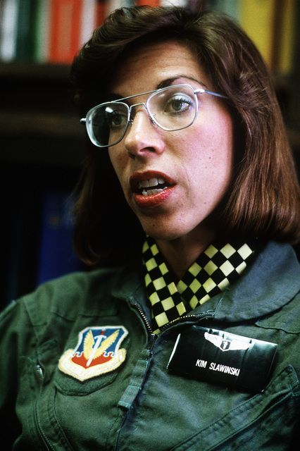 CPT (Dr.) Kim Slawinski, chief of flight medicine for the 554th Medical Group and Air Force flight surgeon of the year for 1987, discusses her planned specialization in ophthalmology