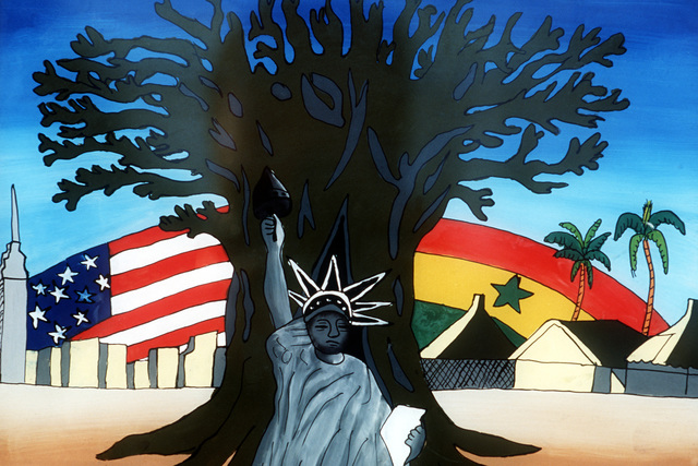 The picture on a hand-painted glass symbolizes the unity between the United States and Senegal represented by a MEDFLAG exercise between the two countries. Medical personnel from the U.S. European Command conduct three MEDFLAGs annually, in conjunction with medical personnel of various African countries. The program emphasizes security and medical training while providing humanitarian/civic assistance to the host country