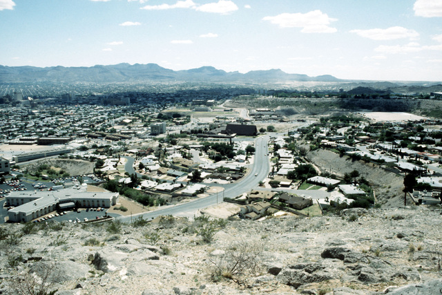 An overview of El Paso with Juarez, Mexico in the distance