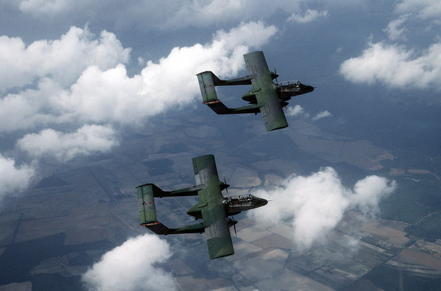 Two OV-10A Bronco aircraft from the 20th Tactical Air Support Squadron fly over the state during a flight out of Shaw Air Force Base, South Carolina