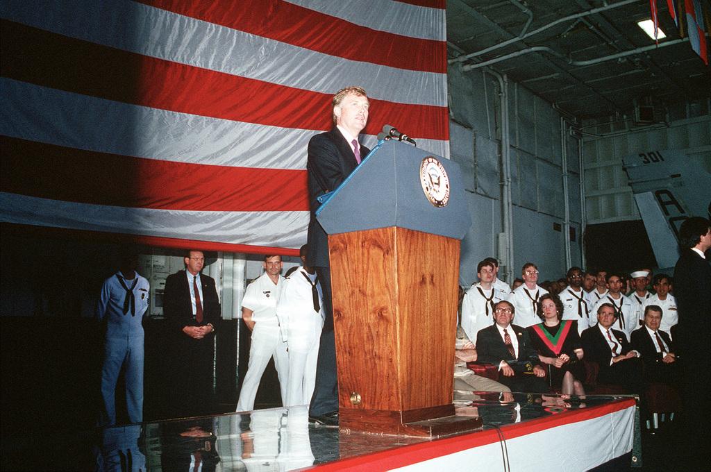 Vice President Dan Quayle speaks during a visit aboard the nuclear-powered aircraft carrier USS DWIGHT D. EISENHOWER (CVN 69)