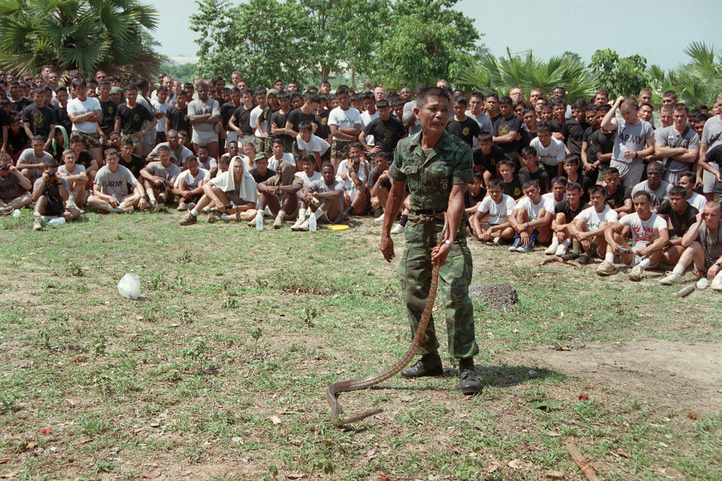Members of 4th Bn., 22nd Inf., 25th Inf. Div. (Light), watch as a Royal Thai Army instructor teaches a class on the types of dangerous snakes found in Thailand. The 25th Infantry Division soldiers are in Thailand for the combined Thai/U.S. exercise Cobra Gold '90