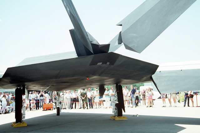 A close-up rear view of a 37th Tactical Fighter Wing F-117A Stealth Fighter aircraft on display at the Department of Defense Joint Services Open House