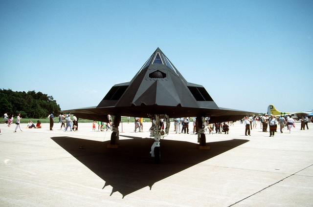 A front view of a 37th Tactical Fighter Wing F-117A Stealth Fighter aircraft on display at the Department of Defense Joint Services Open House