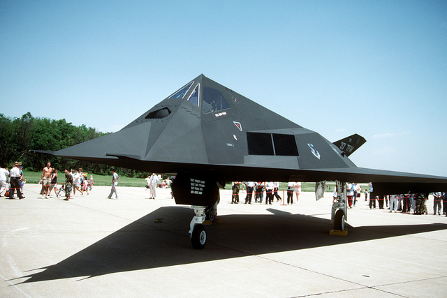 A left front view of a 37th Tactical Fighter Wing F-117A Stealth Fighter aircraft on display at the Department of Defense Joint Services Open House