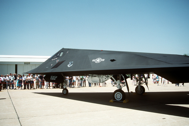 A partial left rear view of a 37th Tactical Fighter Wing F-117A Stealth Fighter aircraft on display at the Department of Defense Joint Services Open House