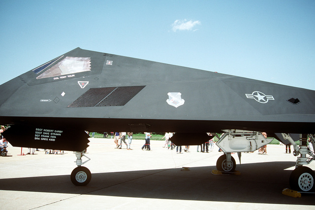 A partial left side view of a 37th Tactical Fighter Wing F-117A Stealth Fighter aircraft on display at the Department of Defense Joint Services Open House