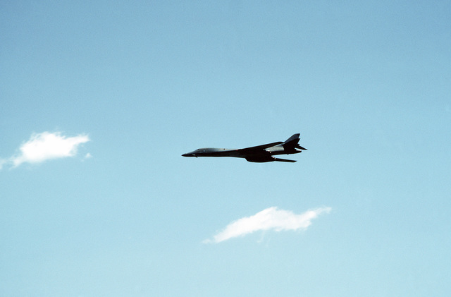 An Air Force B-1B aircraft flies by during a Department of Defense Joint Services Open House