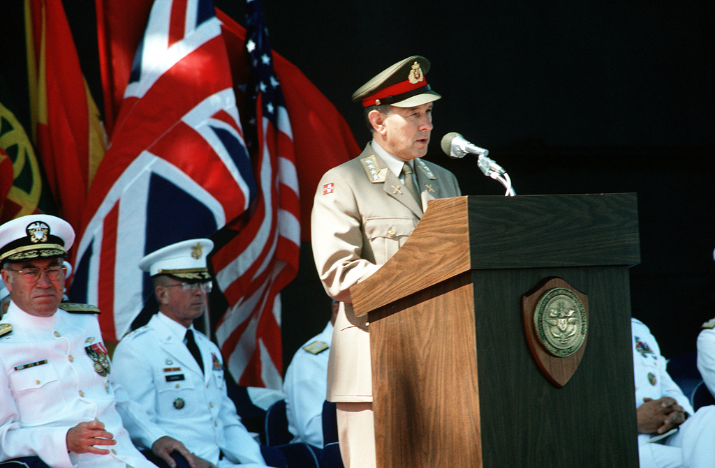 General Vigleik Eide, Chairman, NATO Military Committee, speaks during the change of command ceremony at which Admiral Frank B. Kelso II is replaced by Admiral Leon A. Edney as Commander in CHIEF, United States Atlantic Command. The ceremony is taking place aboard the aircraft carrier USS JOHN F. KENNEDY (CV 67). Kelso will be replacing Admiral Carlisle A.H. Trost as CHIEF of Naval Operations