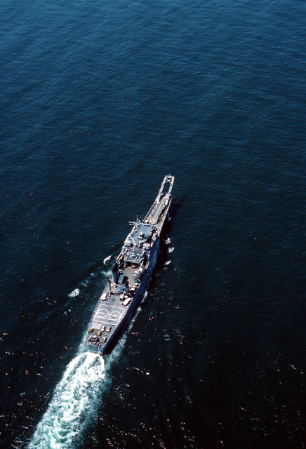 An overhead view of the tank landing ship USS SCHENECTADY (LST-1185) underway off the coast of San Diego