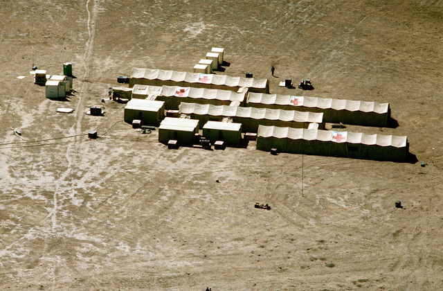 An aerial view of the 23rd Tactical Hospital set up for exercise Patriot Spirit '90, an exercise providing training for active and reserve Air Force and Army medical units under battlefield conditions.