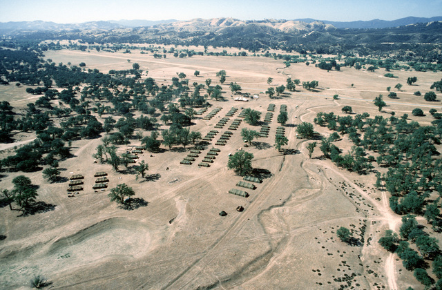 An aerial view of the tent city set up for exercise Patriot Spirit '90, an exercise providing training for active and reserve Air Force and Army medical units under battlefield conditions.