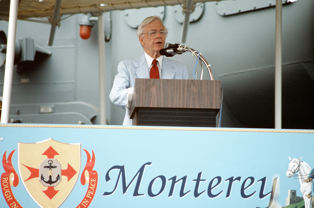 Representative Charles E. Bennett of Florida speaks at the commissioning of the guided missile cruiser USS MONTEREY (CG 61)