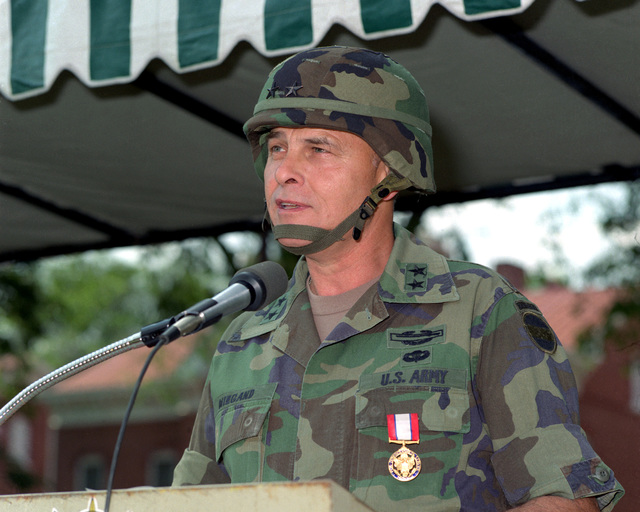 MGEN Robert D. Wiegand, outgoing Forces Command (FORSCOM) chief of staff, speaks during his retirement ceremony